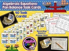 Challenge your students to think outside the box with these algebraic equations: pan balance task cards! A great way to practice critical thinking skills! There are 40 task cards of varying difficulty perfect for grades 4-6. #TpT #TeacherGems #Math