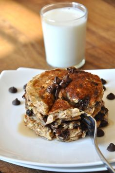 "Healthy Chocolate Chip Oatmeal ""Cookie"" Pancakes."