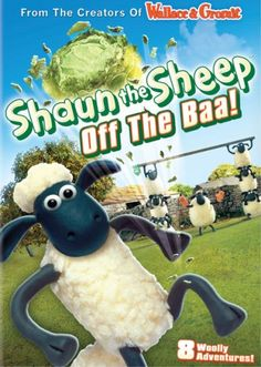 """Shaun the Sheep is a BBC kids TV series of claymation figures from the creators of Wallace and Grommit. A flock of sheep clandestinely conduct human-like activities behind the back of their farmer. This DVD has eight 7-minute episodes from Season 1. In the first episode, """"Off the Baa"""", the sheep play soccer with a head of lettuce, with the watchdog as the referee. The greedy pigs next door try to steal and eat the lettuce."""