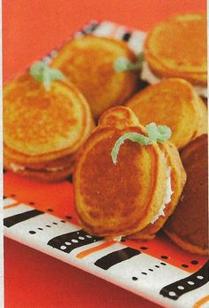 Pumpkin pancakes with cream cheese. Pretty sure my kids would love these for dinner on Halloween.