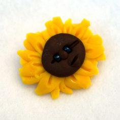 Handmade Sunflower Brooch Jewelry  OOAK Polymer Clay by Fuffalumps  www.creationsbyjdb.com