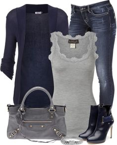 """Navy and Gray"" by denise-schmeltzer ❤ liked on Polyvore"