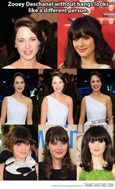Zooey Deschanel without bangs…