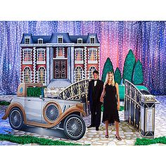 Step back into the 1920's with our The Great Gatsby Kit featuring six props that will help achieve an authentic look. Pose in front of the large Victorian style mansion or near the gate for beautiful photo ops., 2 - Evergreen Hedge Standees, 1 - Mansion Gate Prop, 1 - 1920's Car Standee (personalized), 1 - Gatsby Mansion Standee ,1 - 1910 Convertible Car