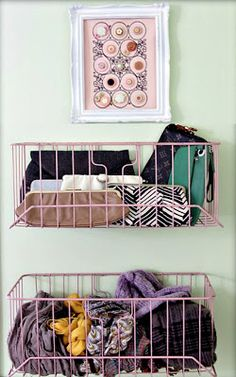 sing command hooks (or screw hooks if you don't mind the holes), hang wire baskets on the back of your closet door to store purses, scarves, and other accessories. To save money, search garage sales for older baskets and spray paint them to match your decor.