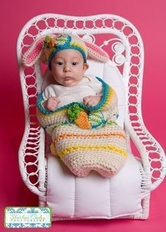 baby in easter bunny beanie Easter Cocoon and Bunny Beanie Set Crochet Pattern