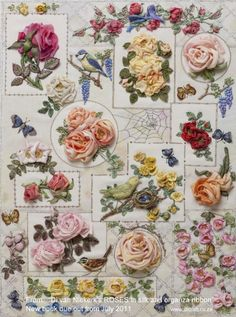 Roses in Silk and Organza Ribbon ~ Stumpwork embroidery by Di van Niekerk