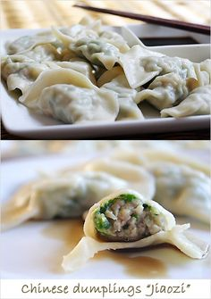Chinese Jiaozi Recipe (Pork and Chive Dumplings) - Ground pork is the most common ingredient, but you can also fill these jiaozi/dumplings with beef, chicken, shrimp, vegetables (for vegetarian jiaozi/dumplings). #dimsum