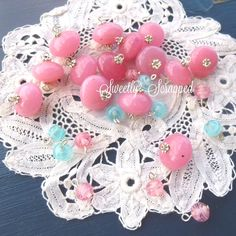 26 Pink and Aqua Beaded Charms.... Jewelry by SweetlyScrappedArt, $9.50
