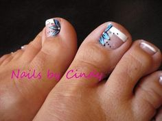 Blue flowered toes nail | Nail Art Gallery