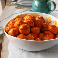 Buffalo Chicken Meatballs Recipe from Taste of Home -- shared by Amber Massey of Argyle, Texas