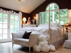 Chocolate Brown and White Girls Bedroom