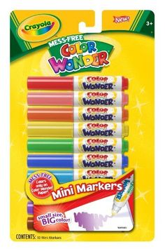Crayola Color Wonder Mini Markers by Crayola. $5.99. Pip-squeak markers in assorted colors. Colors only on color wonder paper. Ability to use anytime anywhere, mess free. From the Manufacturer                Crayola Color Wonder Mini Markers.                                    Product Description                Crayola Color Wonder Mini Markers.