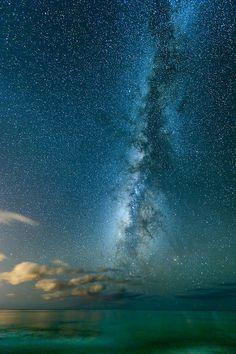 ❥ Into The Sea -- View of the Milky Way off of Yokohama Beach near Keana Point (westernmost tip of Oahu), Hawaii | Marshall Humble via Flickr