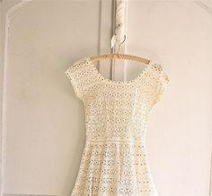 lace crochet dress antique white / gold sequin 60s by bohemiennes, $175.00