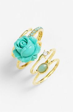 Stacked rings - turquoise