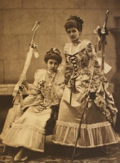 The Ladies Churchill as Watteau shepherdesses, among the 200 guests in fancy dress attending the Duchess of Devonshire's Diamond Jubilee Ball, 1897.