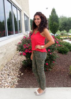 Camouflage pants & coral cami