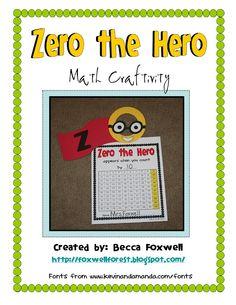 Zero the Hero craftivity FREEBIE