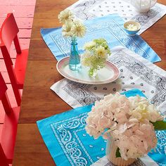 Bandana Table Runner. More Easy 4th of July Decorations: http://www.bhg.com/holidays/july-4th/decorating/easy-diy-decorations-for-the-4th-of-july/