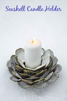 DIY seashell candle holder tutorial at www.whatsurhomestory.com