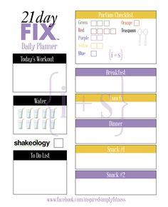Free Printable 21 Day Fix Meal Planner