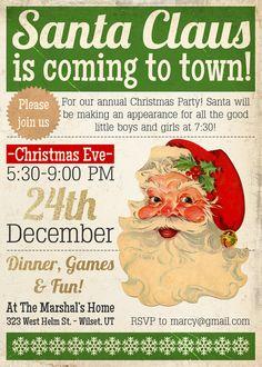 Printable Santa Christmas party invitation by AmysStationeryShoppe