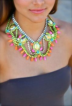neon nail polish, statement necklaces, dress, wedding necklaces, neon colors, crystal, bib necklaces, bright colors, chunky necklaces