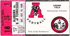 #Alabamafootball #ticket art made from an authentic 1985 Alabama football ticket. Great #AlabamaCrimsonTide football art for #gameroom or #office. Available on #canvas up to 5 feet wide. #47straight