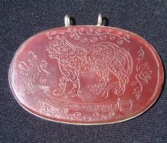 Turkoman Silver Pendant Decorated With Carnelian Plaque Featuring A Leopard