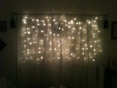 White light net (for shrubbery) on a curtain rod behind sheer curtains.  In my bedroom!  Yea!