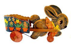Vintage Toy Box: Antique 1930s Bunny Rabbit Pulling Flower Cart