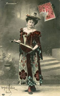 Vintage French hand tinted