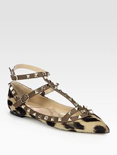 Valentino - Rockstud Leopard-Print Calf Hair T-Strap Flats ~ absolutely amazing!