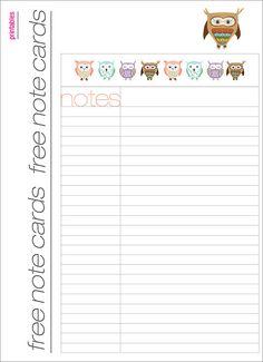 Freebie Owl Notecards #owl #notecard #card #free #freebie #printable #download