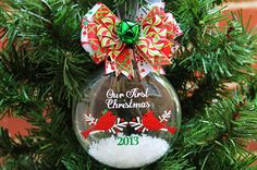 Personalized Cardinal Couple Ornament Our First Christmas Ornament Couple Wedding Bride and Groom Custom Name Christmas Ornament Ball
