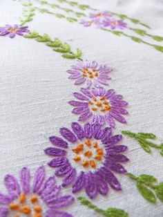 Vintage Embroidered Tablecloth - my mom made a very similar one to this.