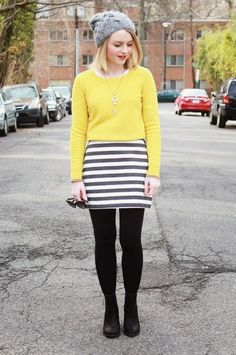 LoLus Fashion: So Cute Fall Outfit Light Yellow Color Sweater + S...