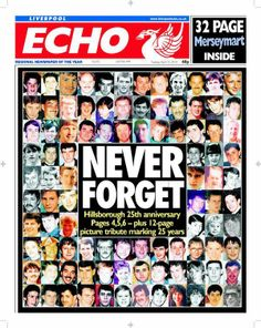 Liverpool Echo 25th anniversary of Hillsborough front page.