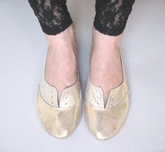Soft Gold Leather Handmade Oxfords. $145.00, via Etsy.