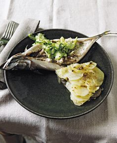 Grilled mackerel with pickled cucumber Photo: Tamasin Day-Lewis