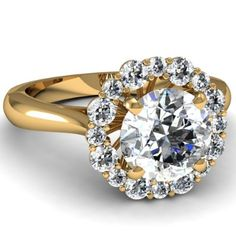 Round Cut Halo Diamond Vintage Engagement Ring In Pave Setting in Yellow Gold