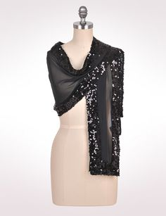 Accessories | Scarves & Wraps | Sequined Border Shawl | dressbarn - could use sequins from a second hand dress???