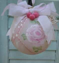 Christmas Ornament Hand Painted Pink Rose