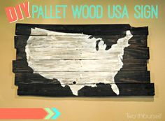 Two It Yourself: Oversized Pallet Wood USA Sign (And a GIVEAWAY)