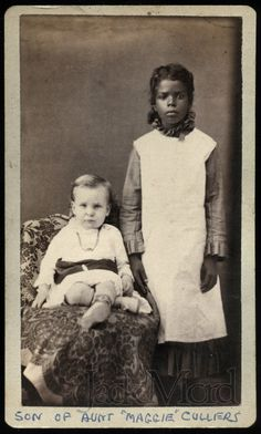 RARE CDV Photos / Young Black African American Nanny w Charge and Toy Drum / TEXAS