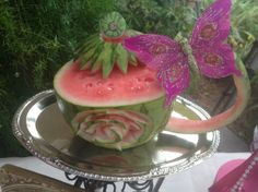 Watermelon Tea Cup Carving by Kim Thielker