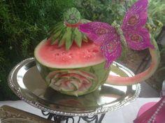 Watermelon Tea Cup Carving by Kim Thielker