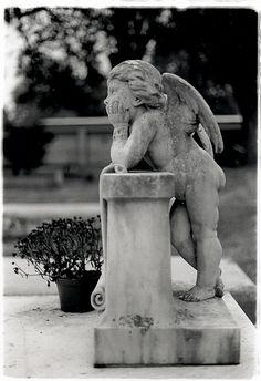 interior design, modern gardens, john episcop, cherub angel, deep thoughts, garden sculptures, garden design ideas, modern garden design, weeping angels