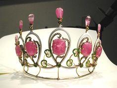 Austrian tiara with pink tourmalines